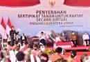 Presiden Serahkan 22 ribu Sertifikat Tanah di Humbahas, Gubernur: Diwariskan, Jangan Diperjualbelikan
