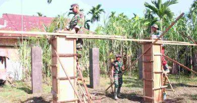 Gerakan TMMD Kodim 0104/Aceh Timur Bangun Pondasi Balai Pengajian di Desa Simpang Lee